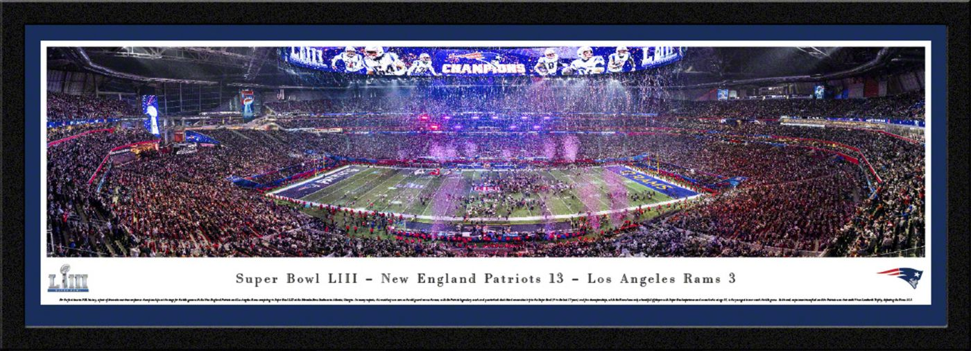 Blakeway Panoramas Super Bowl LIII Champions New England Patriots Framed Panorama Poster