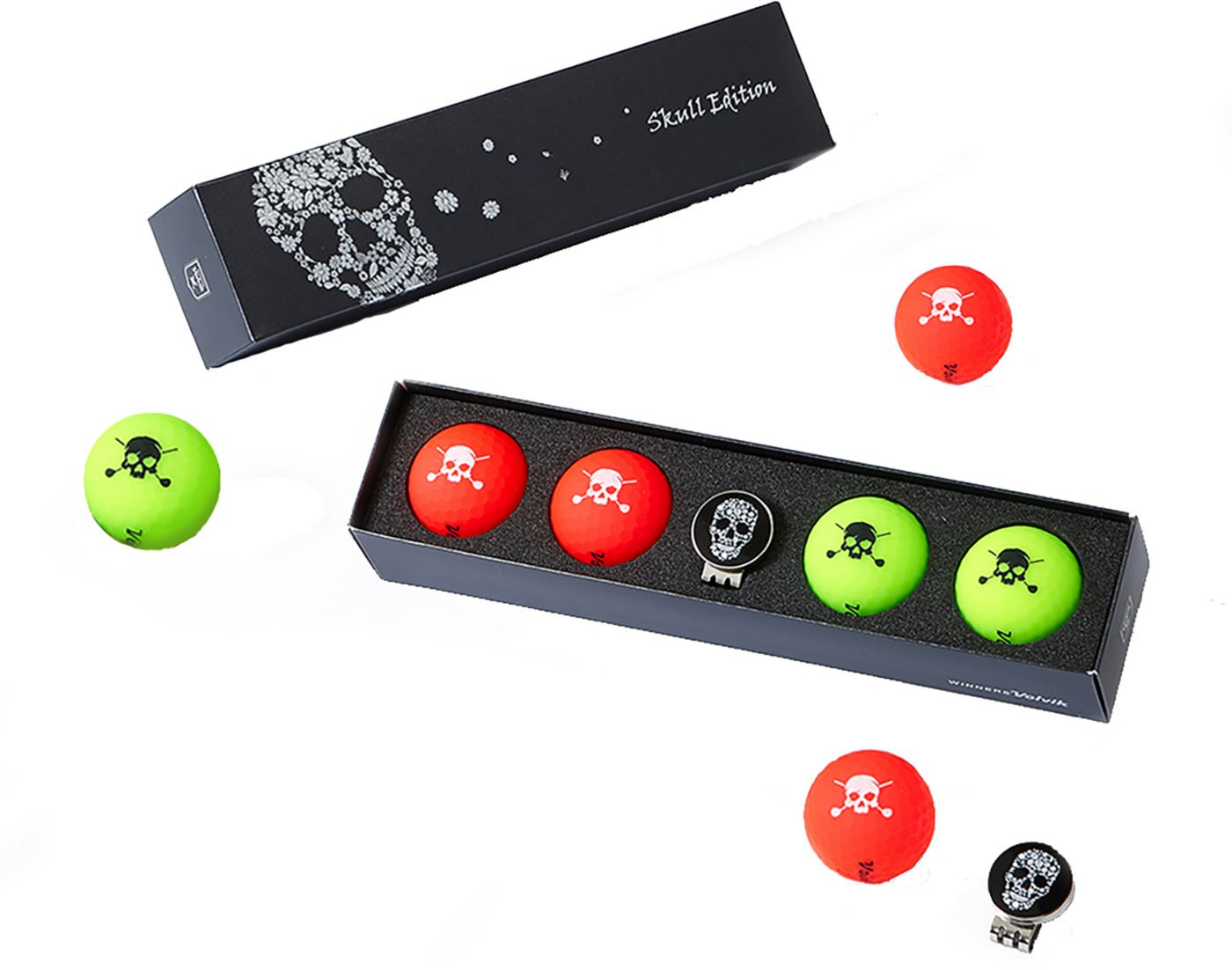 Volvik 2019 VIVID Matte Skull Edition Golf Balls + Hat Clip Set – 4 Pack