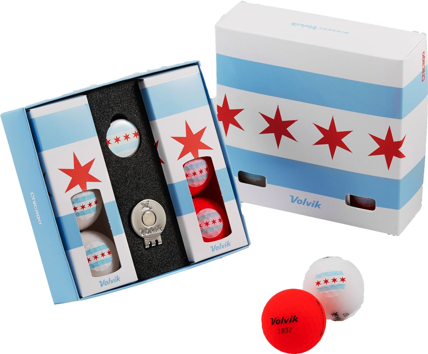 Volvik VIVID Matte State Chicago Edition Golf Balls + Hat Clip Set  – 6 Pack