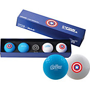Volvik VIVID Matte Marvel Captain America Edition Golf Balls + Hat Clip Set – 4 Pack