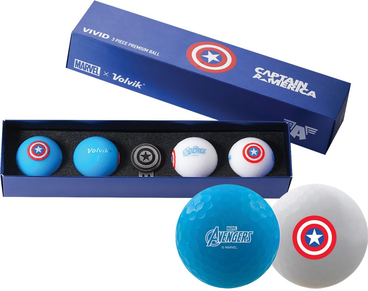 Volvik VIVID Matte Marvel Captain America Edition Golf Balls + Hat Clip Set – 4 Pack