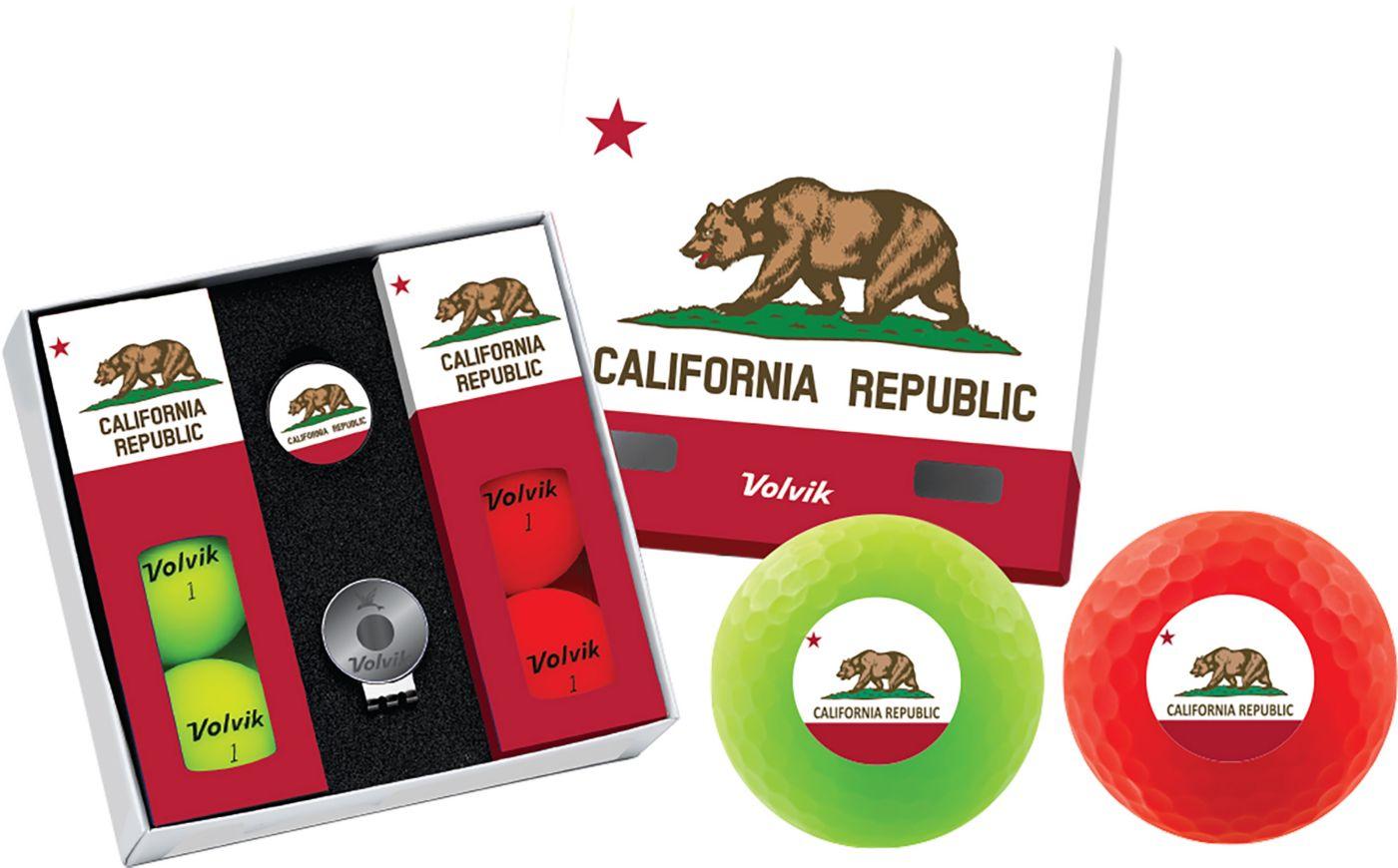 Volvik VIVID Matte State California Edition Golf Balls + Hat Clip Set  – 6 Pack