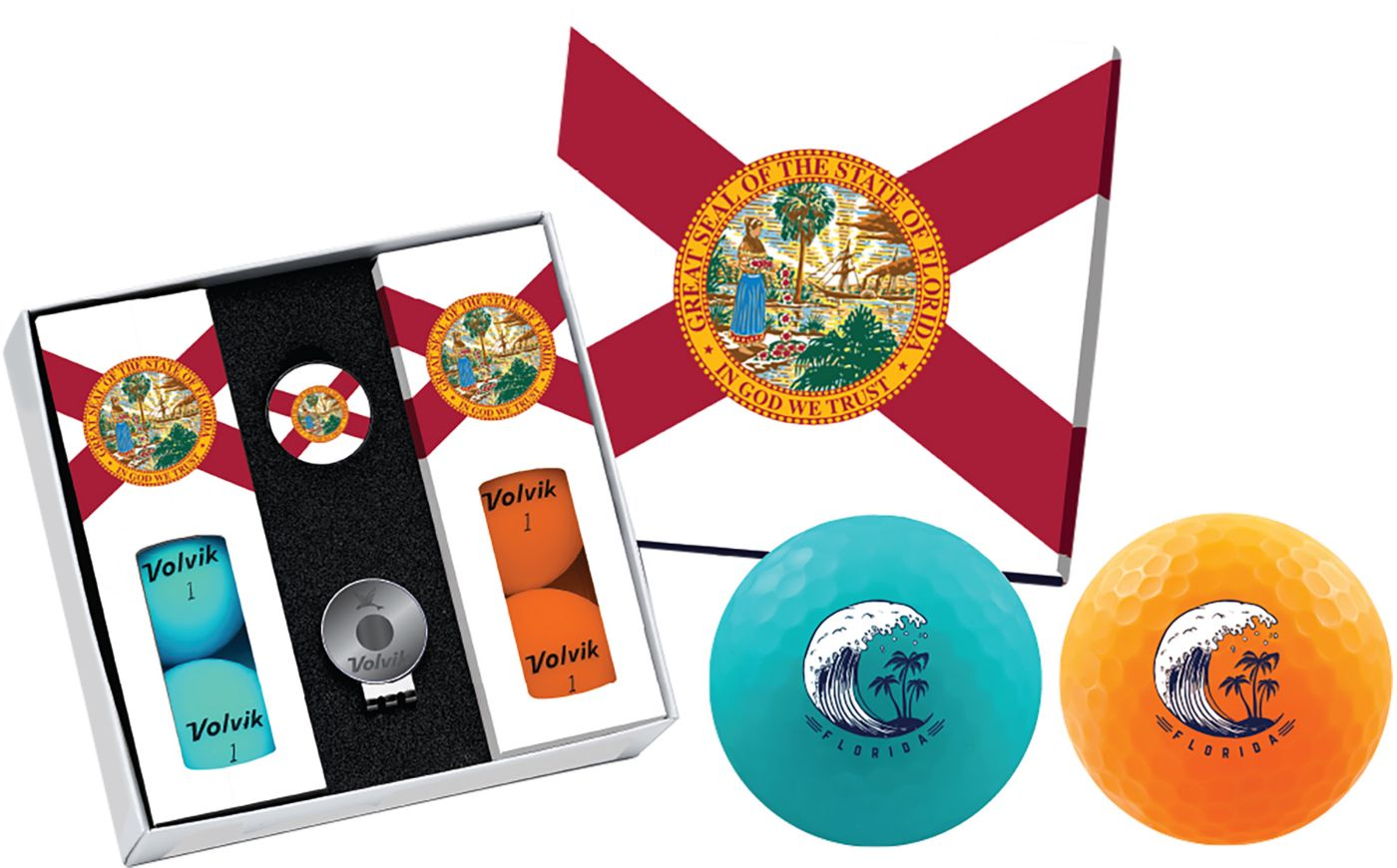 Volvik VIVID Matte State Florida Edition Golf Balls + Hat Clip Set  – 6 Pack