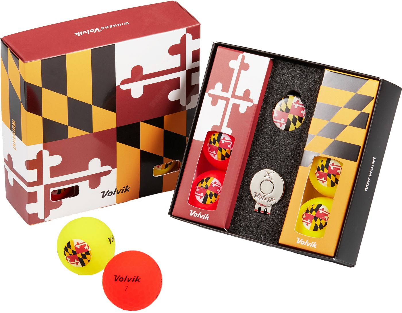 Volvik VIVID Matte State Maryland Edition Golf Balls + Hat Clip Set  – 6 Pack
