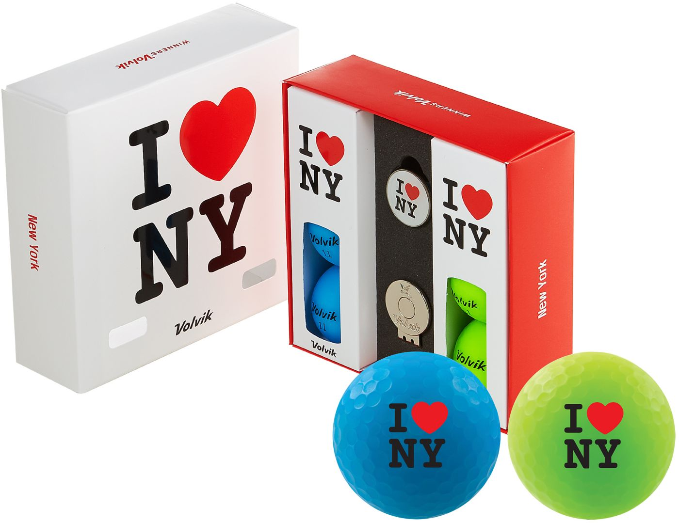 Volvik VIVID Matte State New York Edition Golf Balls + Hat Clip Set  – 6 Pack