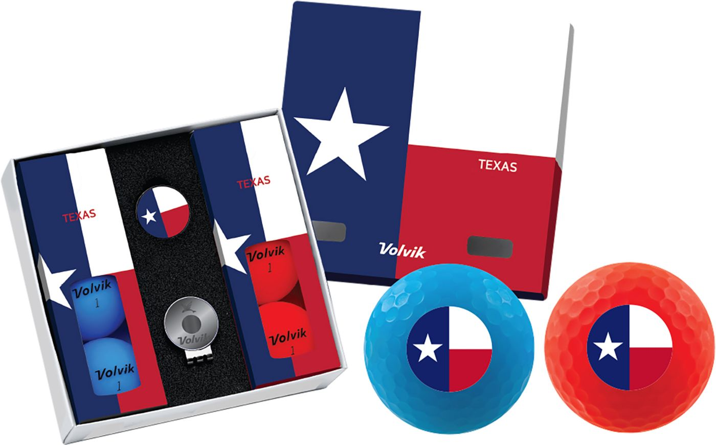 Volvik VIVID Matte State Texas Edition Golf Balls + Hat Clip Set  – 6 Pack