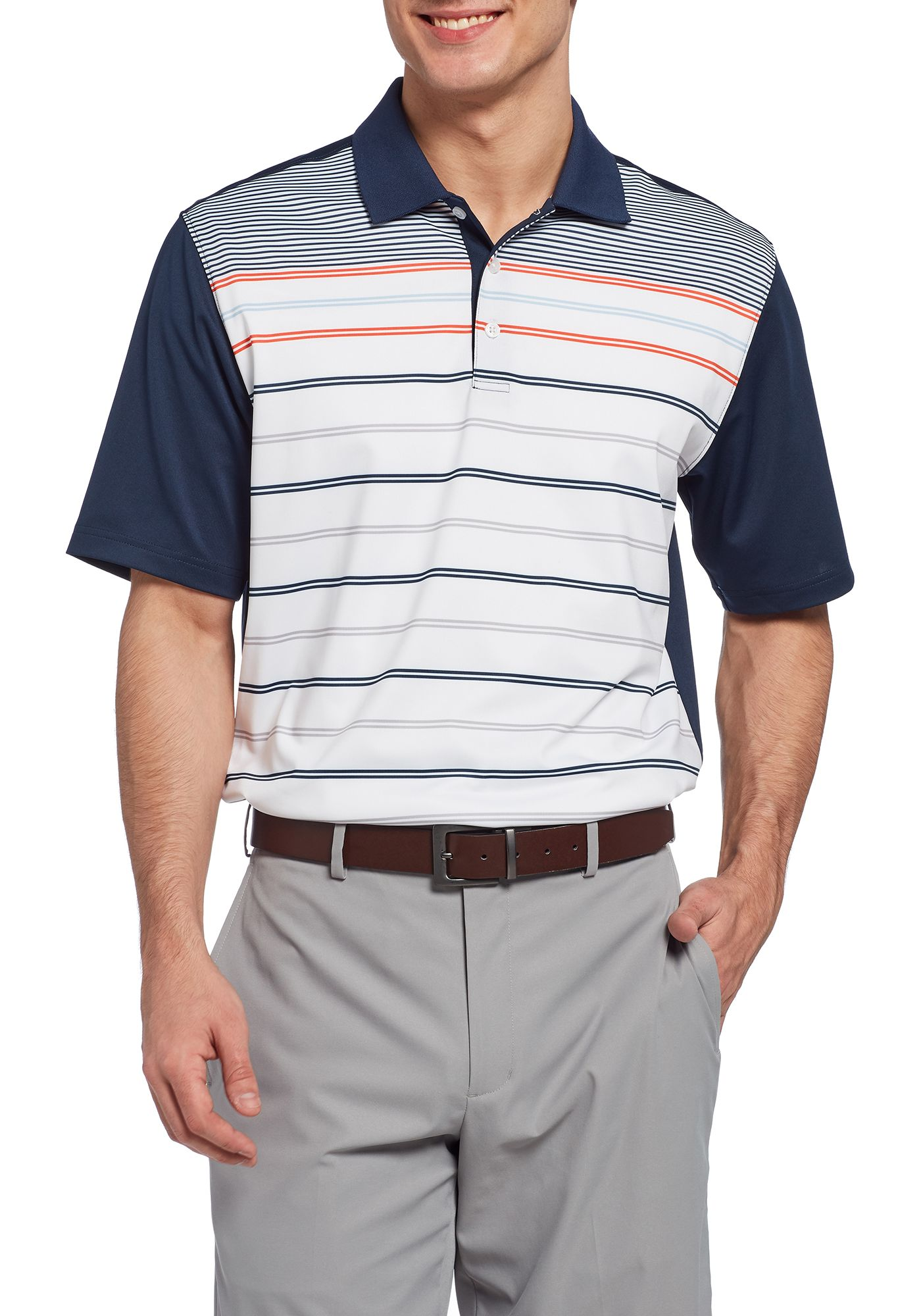 Walter Hagen Men's 11 Majors Stripe Block Golf Polo