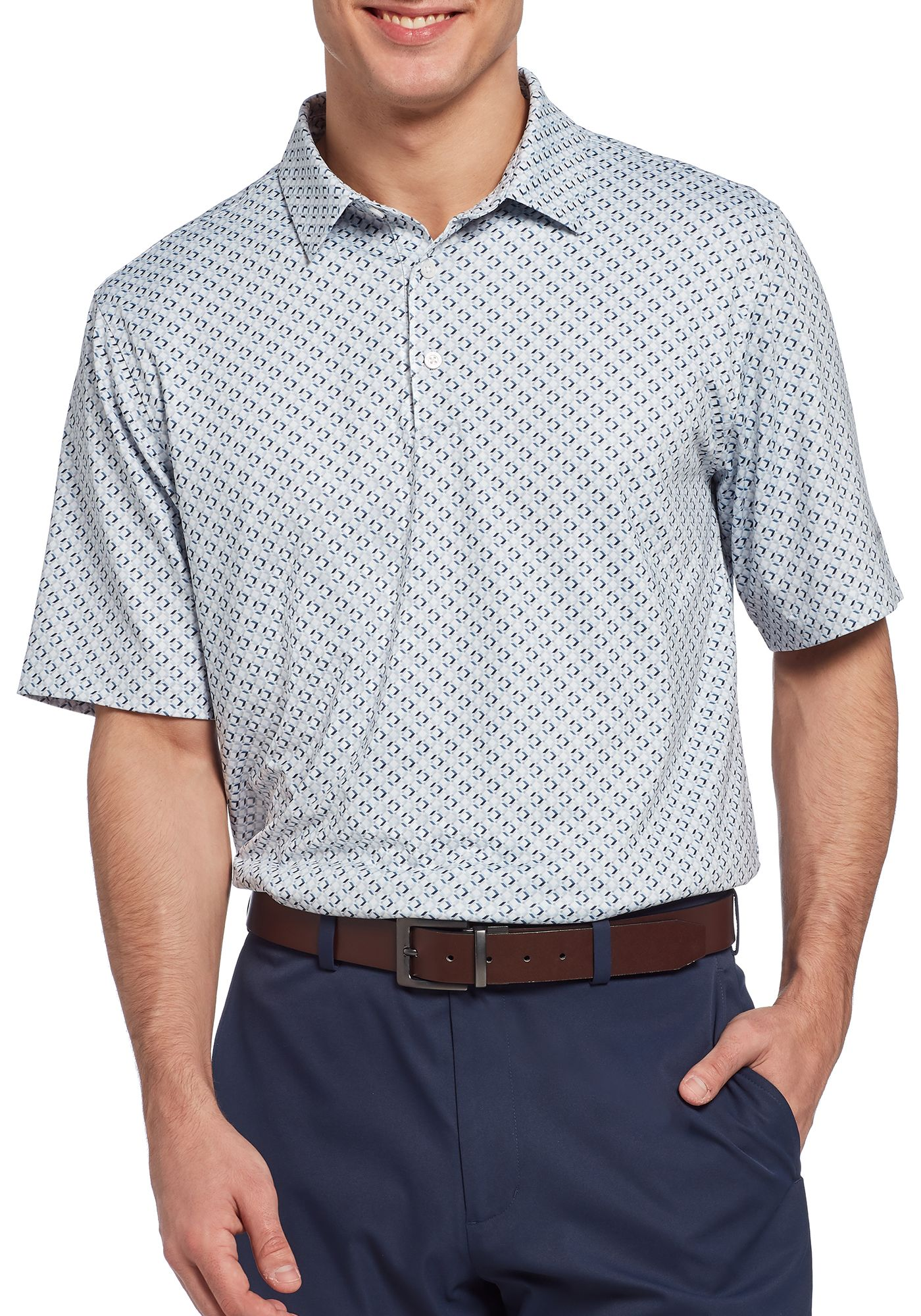 Walter Hagen Men's 11 Majors Diamond Multi Geo Print Golf Polo