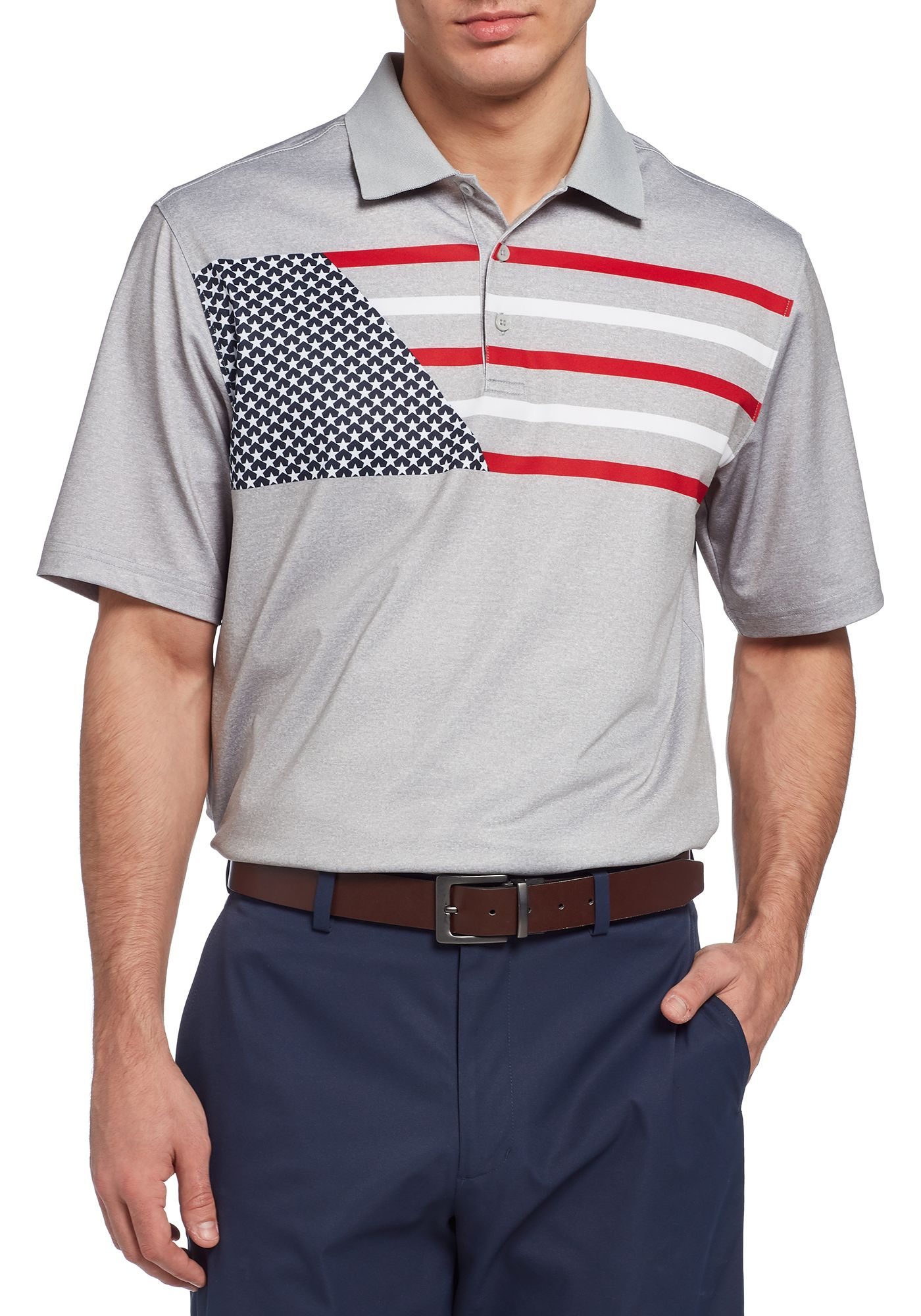Walter Hagen Men's 11 Majors Flag Print Golf Polo