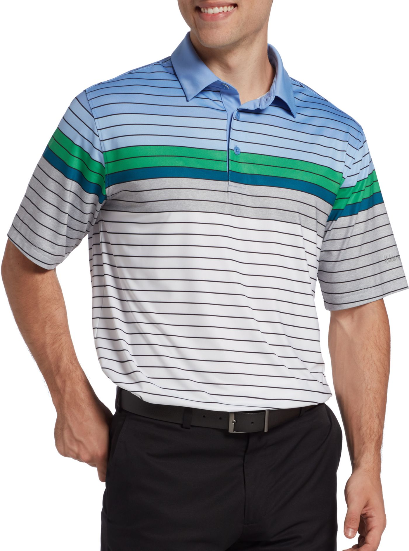 Walter Hagen Men's 11 Majors Engineered Stripe Golf Polo