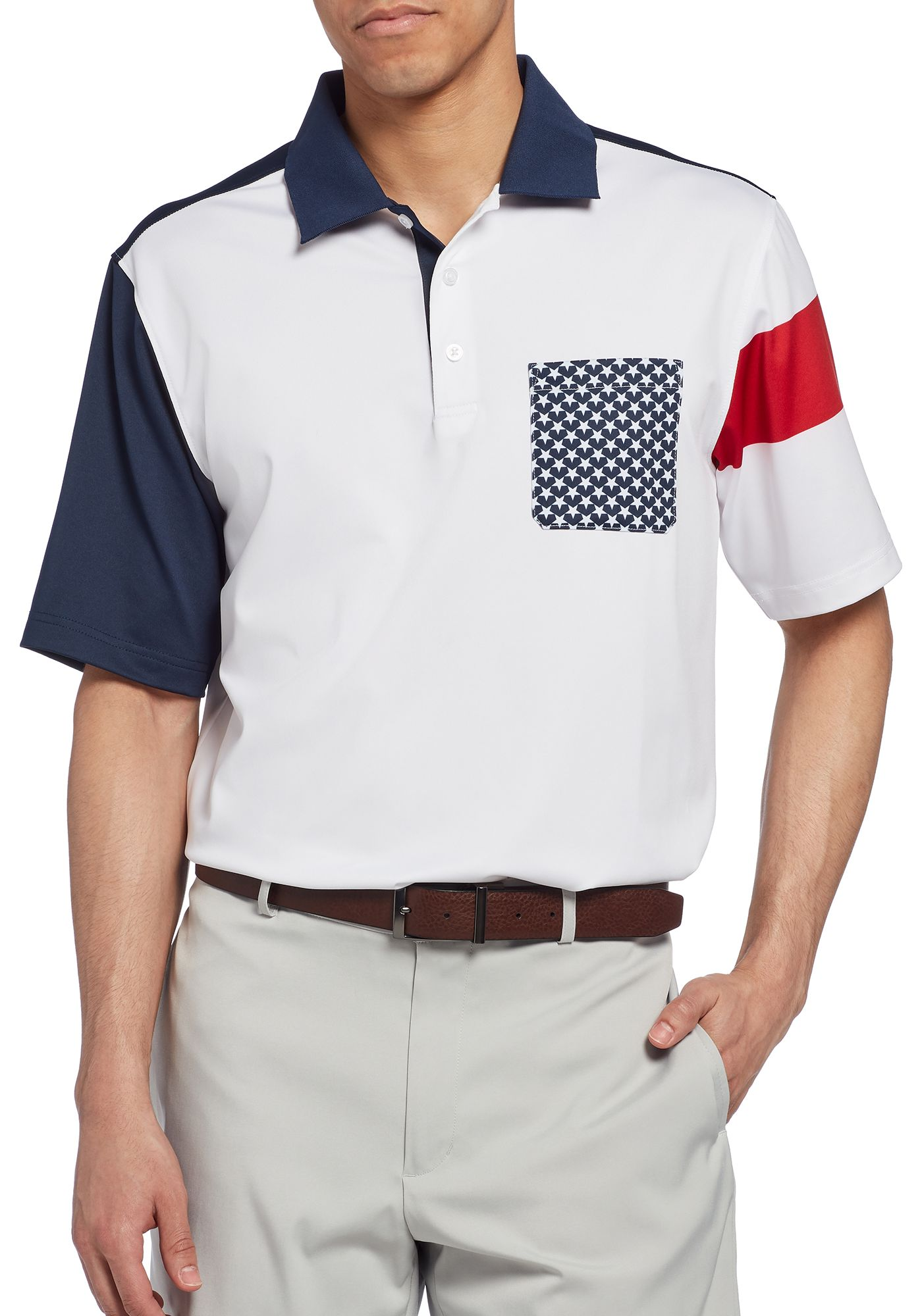 Walter Hagen Men's 11 Majors Stars Pocket Golf Polo