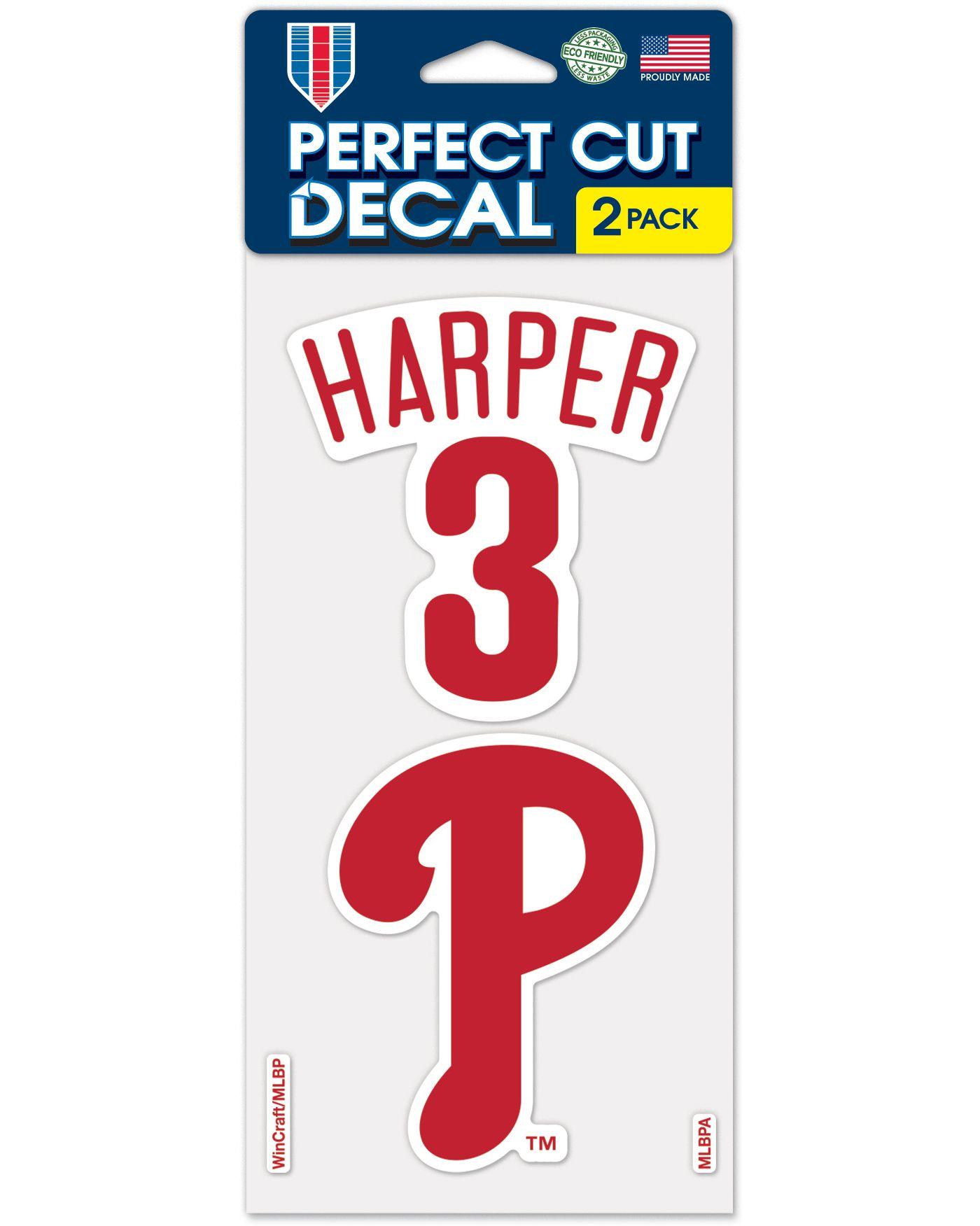 WinCraft Philadelphia Phillies Bryce Harper Perfect Cut Decal 2-Pack