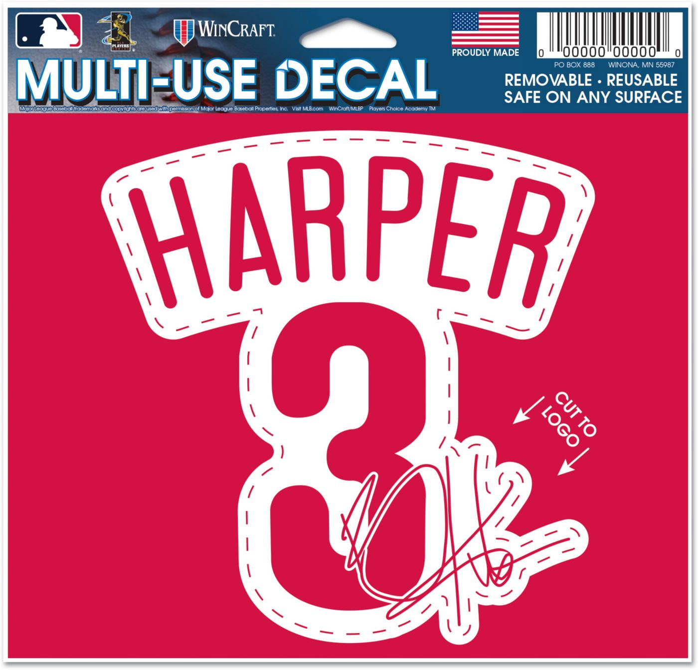 WinCraft Philadelphia Phillies Bryce Harper Multi-Use Decal