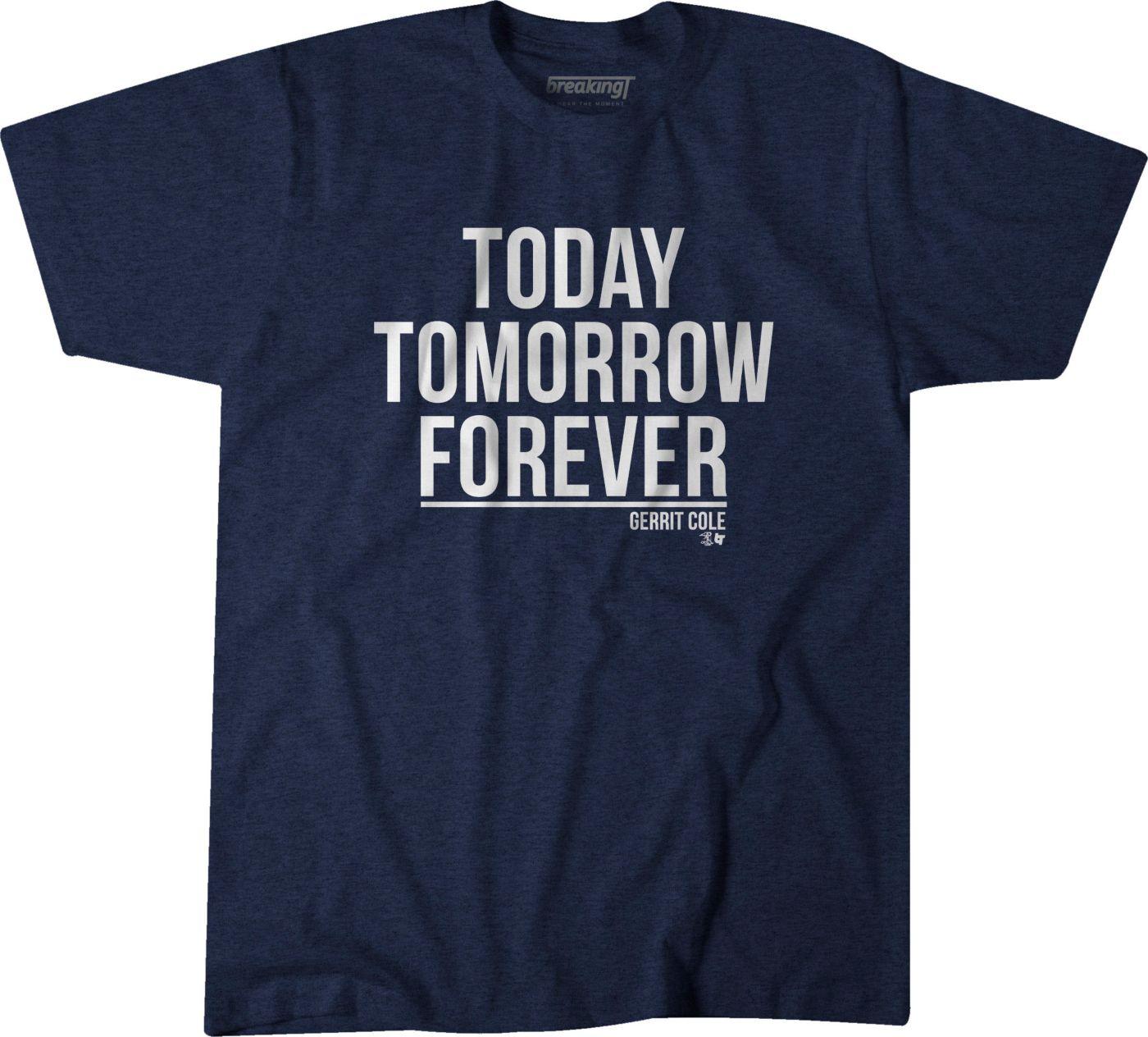 BreakingT Men's New York Yankees Gerrit Cole 'Today, Tomorrow, Forever' Navy T-Shirt