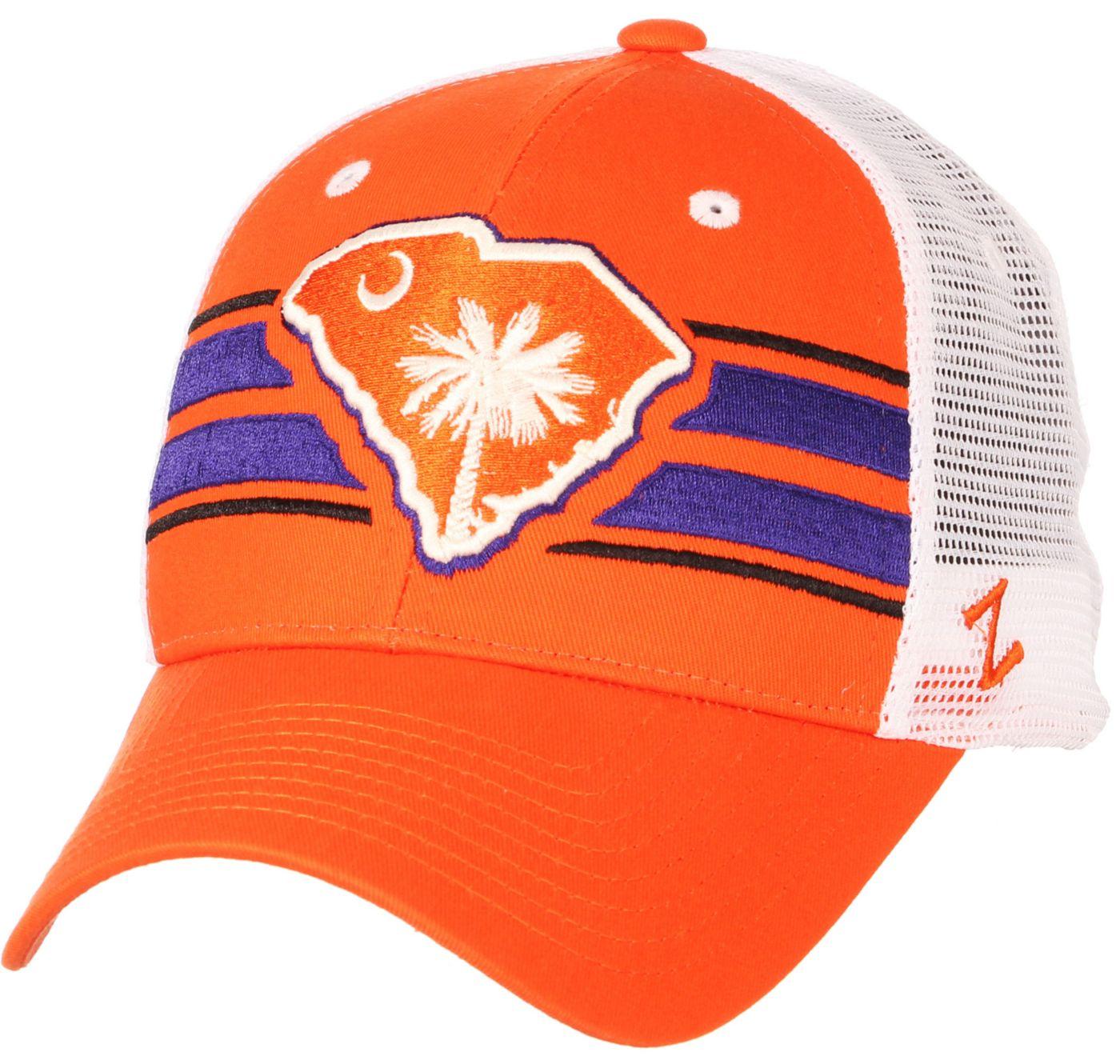 Zephyr Men's Clemson Tigers Orange/White State Flag Adjustable Hat