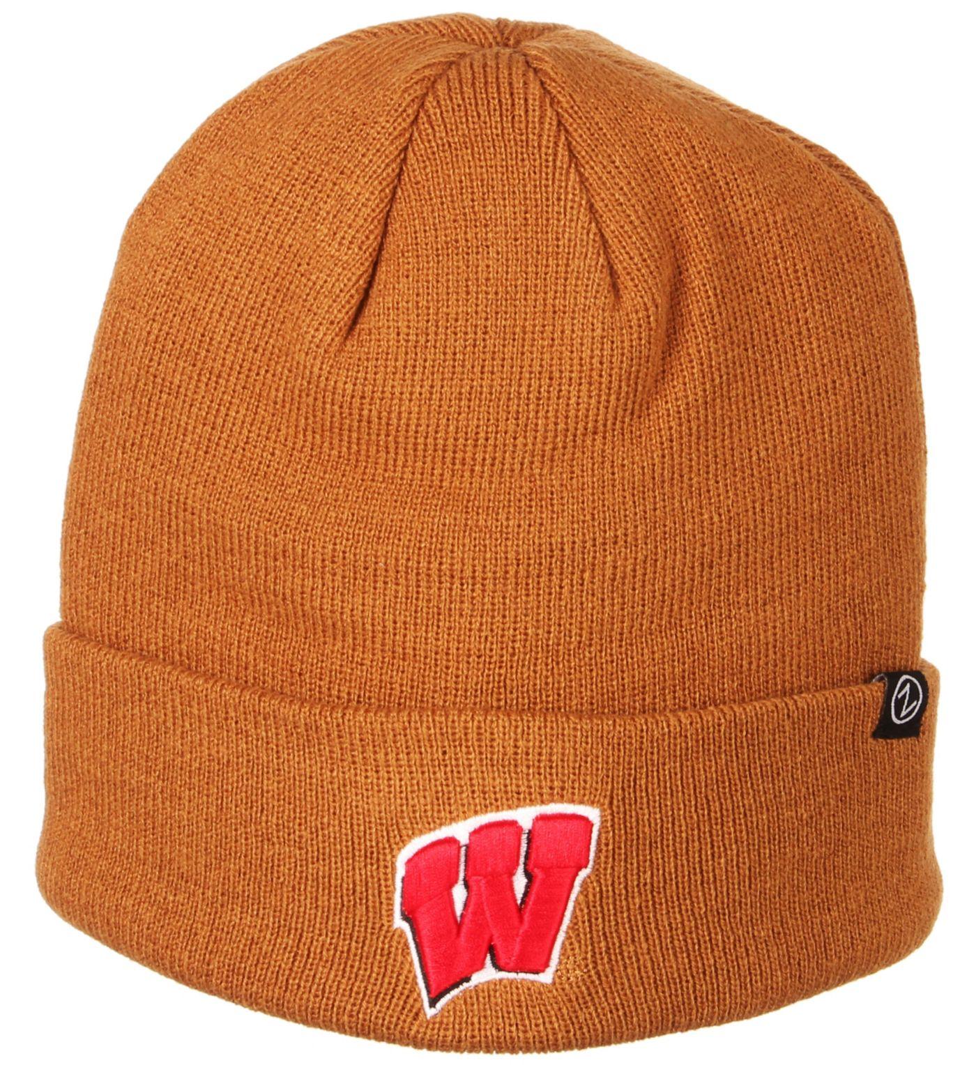 Zephyr Men's Wisconsin Badgers Brown Cuffed Knit Beanie
