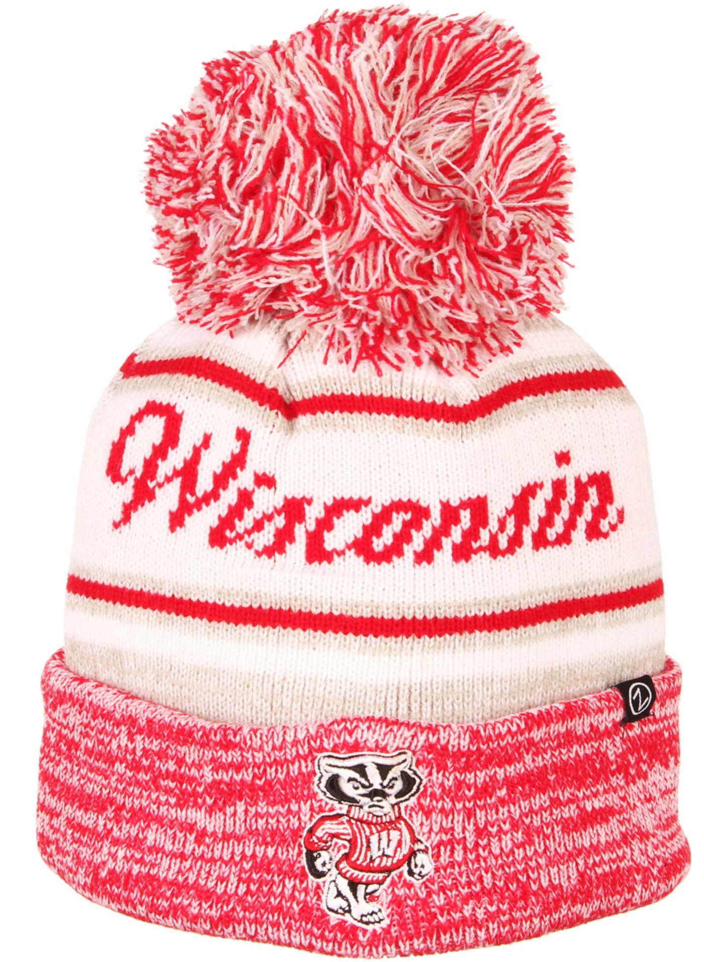 Zephyr Men's Wisconsin Badgers Red Diana Pom Knit Beanie