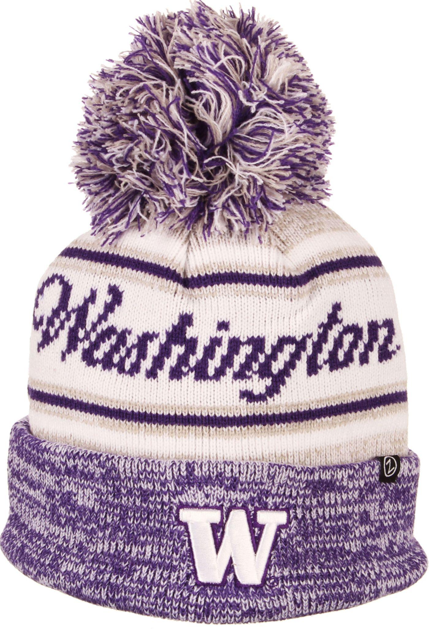 Zephyr Men's Washington Huskies Purple Diana Pom Knit Beanie