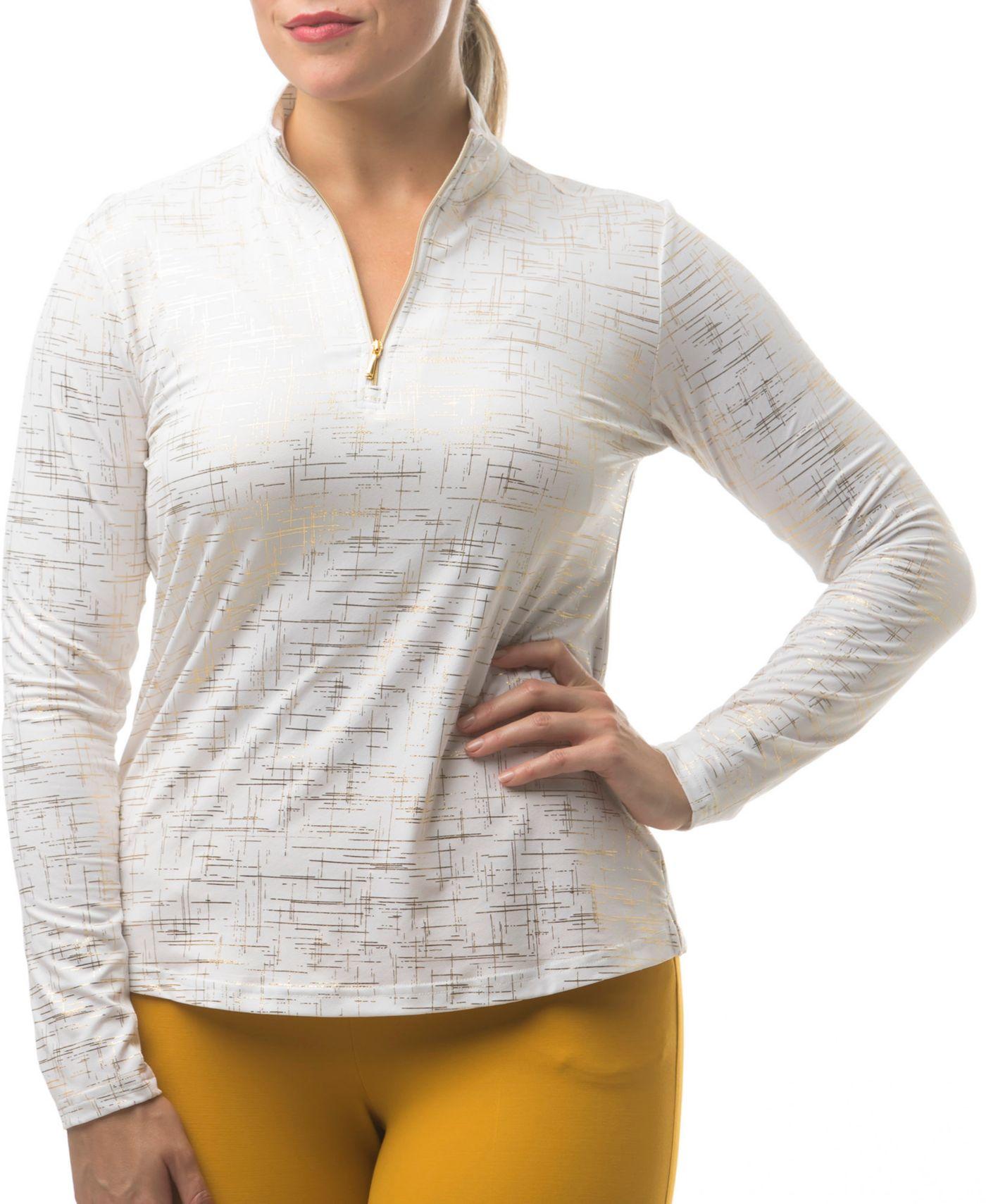 SanSoleil Women's SolShine Foil Print ¼-Zip Golf Pullover