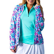 SanSoleil Women's Floral Print Full Zip Golf Jacket