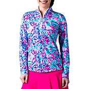 SanSoleil Women's SolCool Floral ¼ Zip Golf Pullover