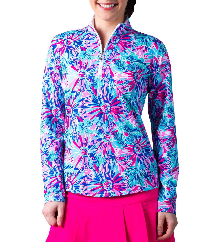 SanSoleil Women's SolCool Floral ¼ Zip Golf Pullover