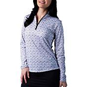 SanSoleil Women's SolCool Printed ¼ Zip Golf Pullover