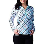 SanSoleil Women's SolCool Printed ¼-Zip Golf Pullover