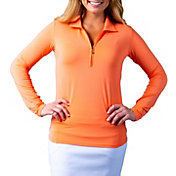 SanSoleil Women's SolTek ICE Solid ¼-Zip Golf Pullover