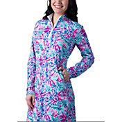 SanSoleil Women's Long Sleeve Bright Floral ¼ Zip Golf Dress