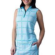 SanSoleil Women's SolTek ICE Printed ¼-Zip Sleeveless Golf Polo