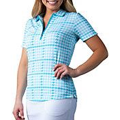 SanSoleil Women's SolTek ICE Printed ¼-Zip Short Sleeve Golf Polo