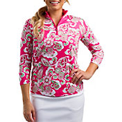 SanSoleil Women's SolCool Printed ¼-Zip Golf Pullover