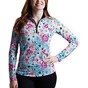 SanSoleil Women's SolTek ICE Floral ¼-Zip Golf Pullover
