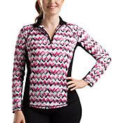 SanSoleil Women's SolTek ICE Zig Zag ¼-Zip Golf Pullover