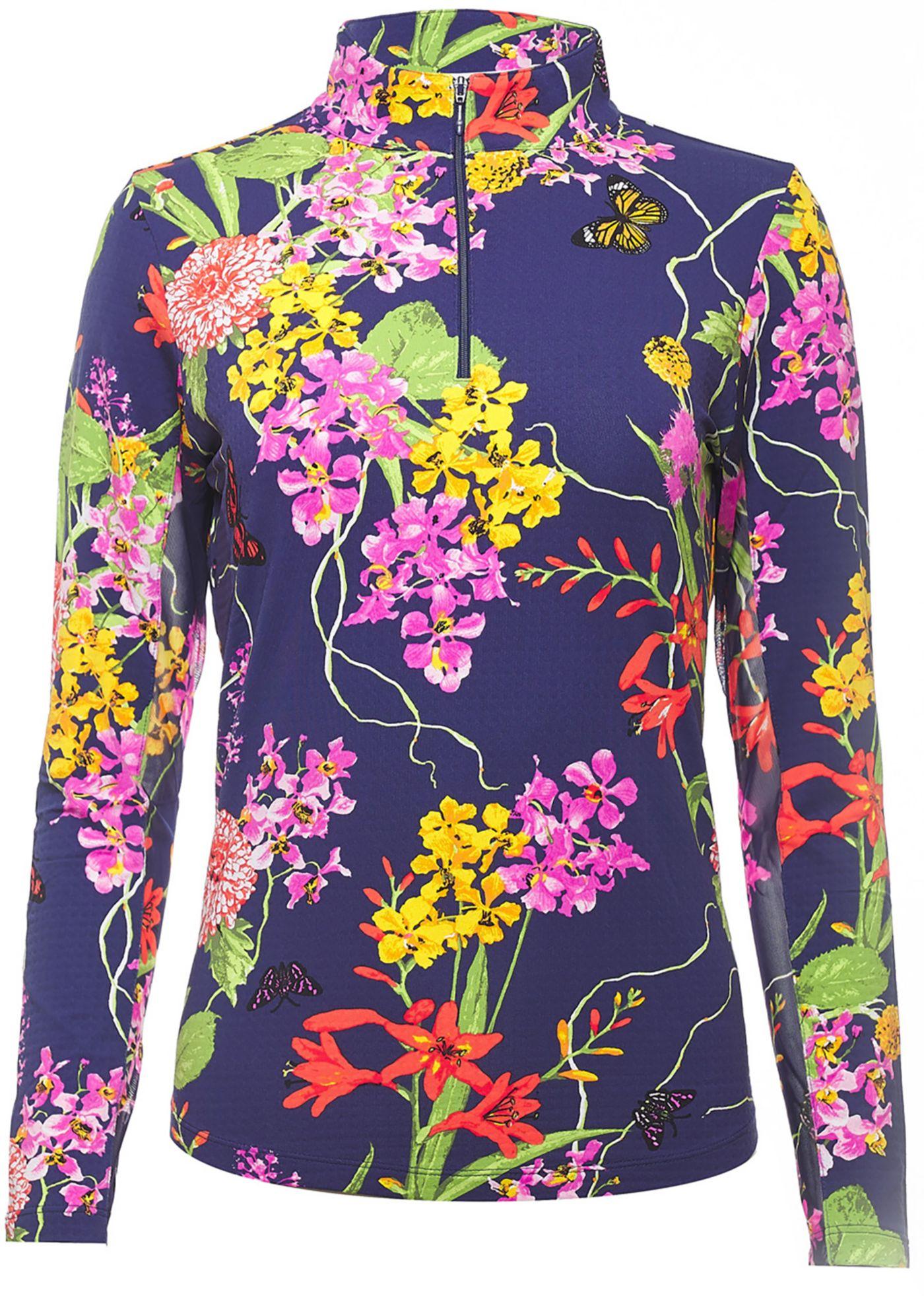IBKUL Women's Willow Print Mock Neck Golf Pullover