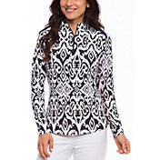 IBKUL Women's Doreen Print Mock Neck Golf Pullover