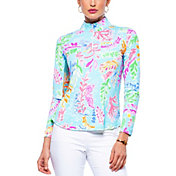 IBKUL Women's Nessa Print Mock Neck Golf Pullover