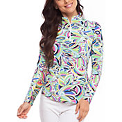 IBKUL Women's Jackie Print Mock Neck Golf Pullover