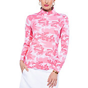 IBKUL Women's Camo Print Mock Neck Golf Pullover