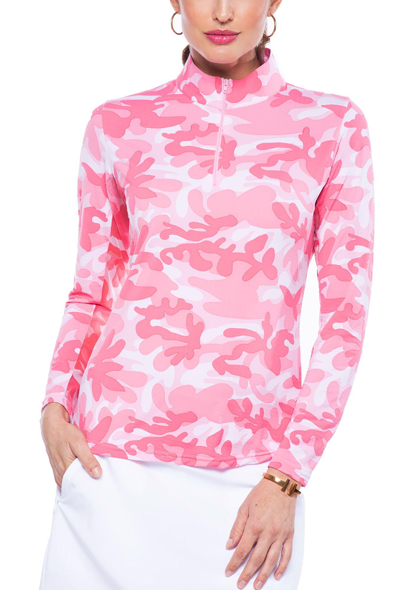 IBKUL Women's Camo Print Mock Neck Golf Pullover