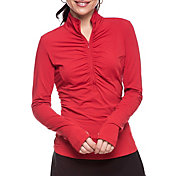 IBKUL Women's Long Sleeve Ruched Mock Neck Golf Polo