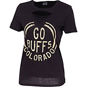 ZooZatz Women's Colorado Buffaloes Revival Ripped Black T-Shirt