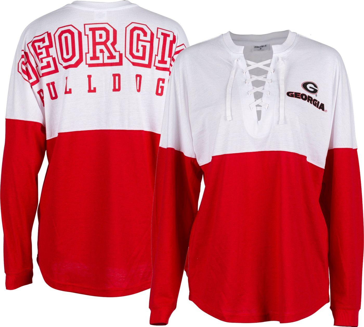 ZooZatz Women's Georgia Bulldogs Red Clearblock Long Sleeve T-Shirt
