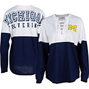 ZooZatz Women's Michigan Wolverines Blue Clearblock Long Sleeve T-Shirt