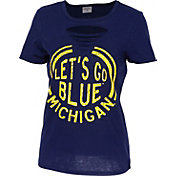 ZooZatz Women's Michigan Wolverines Blue Revival Ripped T-Shirt