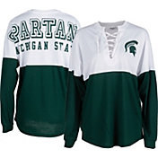 ZooZatz Women's Michigan State Spartans Green Clearblock Long Sleeve T-Shirt