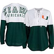 ZooZatz Women's Miami Hurricanes Green Clearblock Long Sleeve T-Shirt