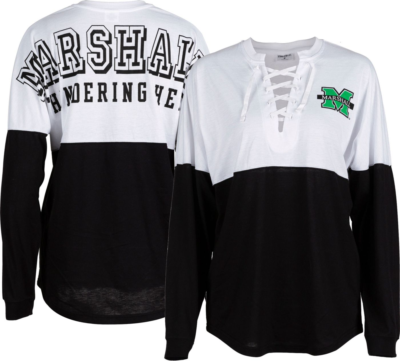 ZooZatz Women's Marshall Thundering Herd Clearblock Long Sleeve Black T-Shirt