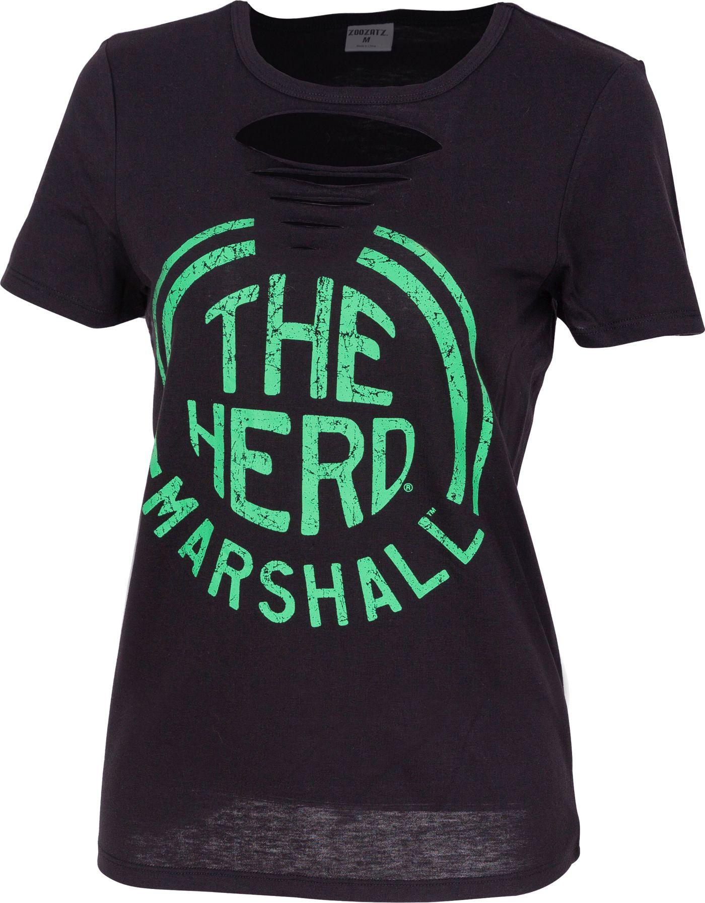 ZooZatz Women's Marshall Thundering Herd Revival Ripped Black T-Shirt